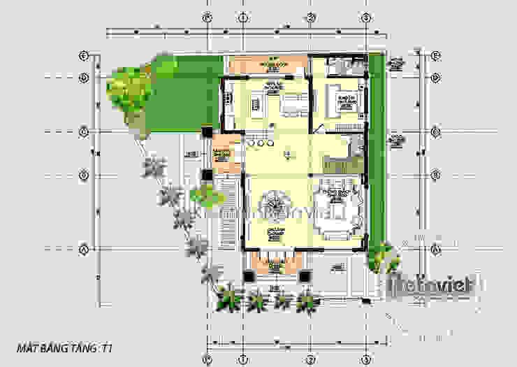 Mặt bằng tầng 1 thiết kế biệt thự 4 tầng kiểu Pháp Tân cổ điển lộng lẫy ( CĐT: Ông Tiến - Bắc Ninh) KT16131 bởi Công Ty CP Kiến Trúc và Xây Dựng Betaviet