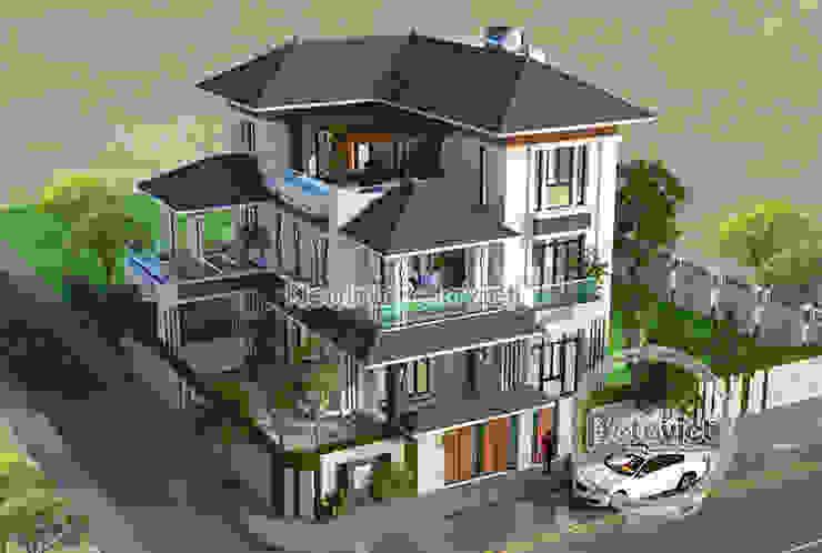 Phối cảnh mẫu thiết kế biệt thự phố 3 tầng Hiện đại đẹp ( CĐT: Ông Vũ - TP. Vinh) KT17108 bởi Công Ty CP Kiến Trúc và Xây Dựng Betaviet
