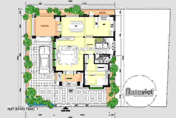 Mặt bằng tầng 1 mẫu thiết kế biệt thự phố 3 tầng Hiện đại đẹp ( CĐT: Ông Vũ - TP. Vinh) KT17108 bởi Công Ty CP Kiến Trúc và Xây Dựng Betaviet