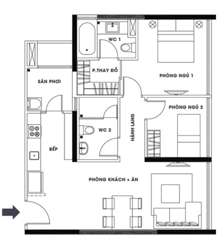 Bản vẽ bố trí mặt bằng căn hộ chung cư bởi Công ty TNHH TK XD Song Phát Hiện đại Đồng / Đồng / Đồng thau