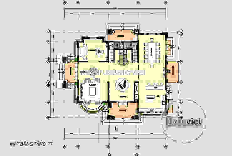 Mặt bằng tầng 1 mẫu thiết kế biệt thự 2 tầng kiểu Pháp theo phong cách Tân cổ điển ( CĐT: Bà Long - Hồ Chí Minh) KT17094 bởi Công Ty CP Kiến Trúc và Xây Dựng Betaviet