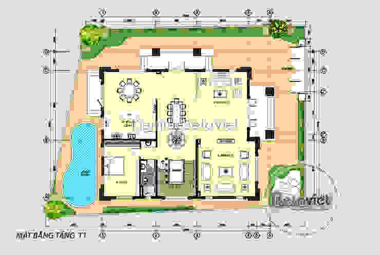 Mặt bằng tầng 1 mẫu biệt thự kiểu Pháp Tân cổ điển 3 tầng ( CĐT: Ông Hiếu - Hồ Chí Minh) KT17066 bởi Công Ty CP Kiến Trúc và Xây Dựng Betaviet