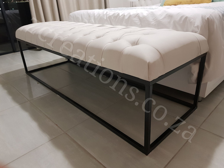 Ottoman by ZCreations Fake Leather Metallic/Silver