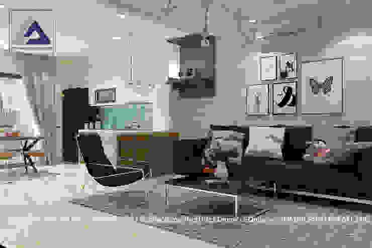 现代客厅設計點子、靈感 & 圖片 根據 Thiết Kế Nội Thất CDmax 現代風