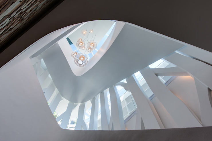Staircase surrounded by a tree structure 根據 JBA Architects 現代風 塑木複合材料