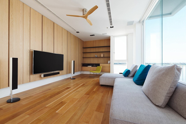 台南自地自建北歐風 现代客厅設計點子、靈感 & 圖片 根據 勝暉建築工程行 現代風