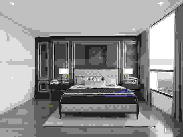 Thiết kế nội thất Vinhomes Central Park – Phong cách Đông Dương Phòng ngủ phong cách châu Á bởi ICON INTERIOR Châu Á