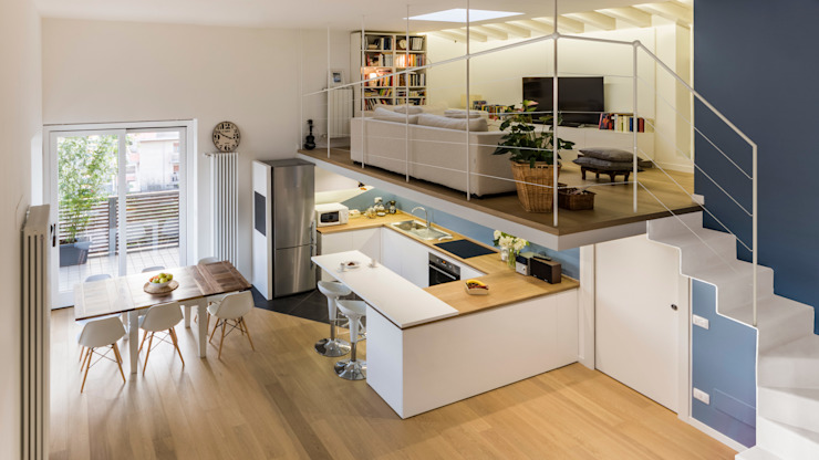 Annalisa Carli Scandinavian style living room Wood Multicolored