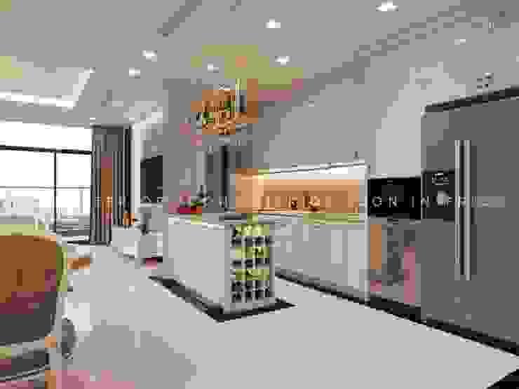 Thiết kế nội thất phong cách TÂN CỔ ĐIỂN cùng căn hộ Vinhomes Central Park Nhà bếp phong cách kinh điển bởi ICON INTERIOR Kinh điển