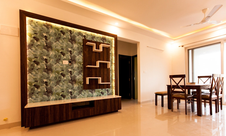 The TV Unit with WallPaper Modern living room by U and I Designs Modern