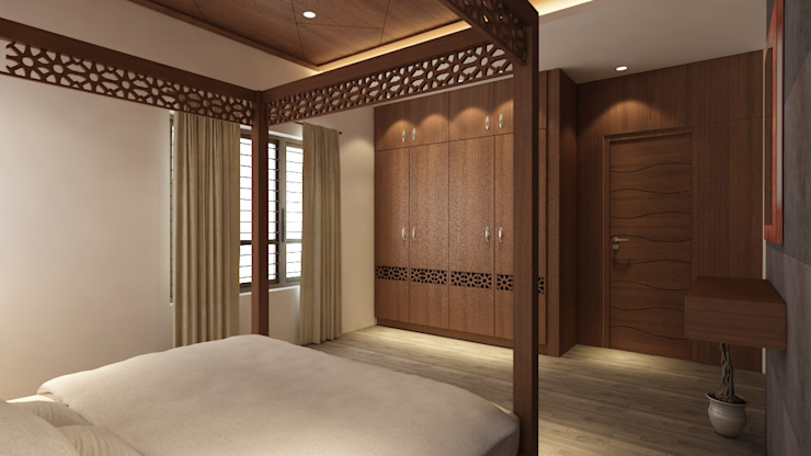 Tropical style bedroom by S Squared Architects Pvt Ltd. Tropical Engineered Wood Transparent