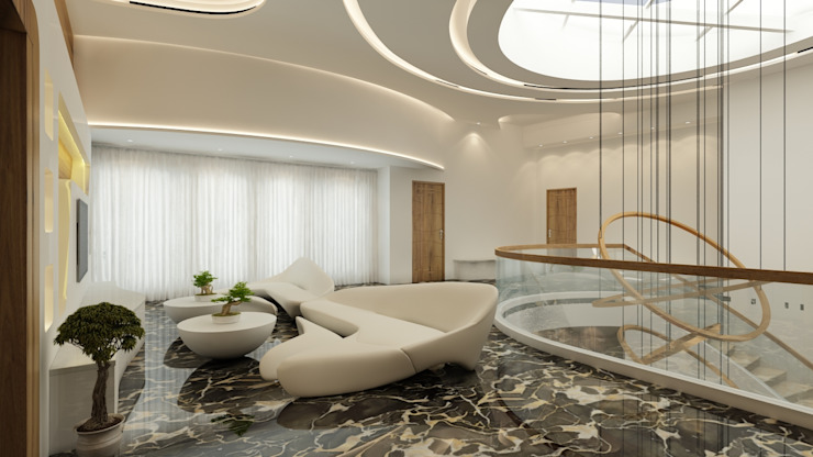 Salas / recibidores de estilo  por S Squared Architects Pvt Ltd., Moderno Ladrillos