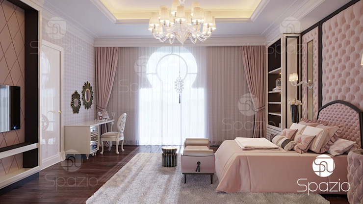 ​Modern interior design for a bedroom in light colors Classic style bedroom by Spazio Interior Decoration LLC Classic