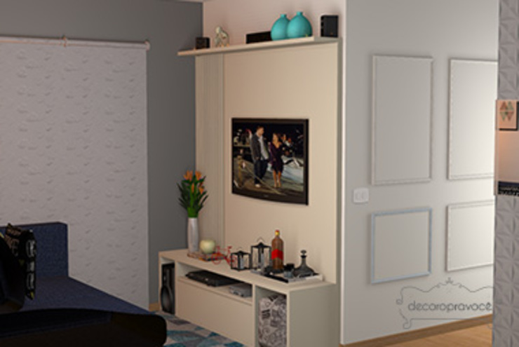 Decoropravocê - Decoração ao seu alcance. Eclectic style living room MDF Blue