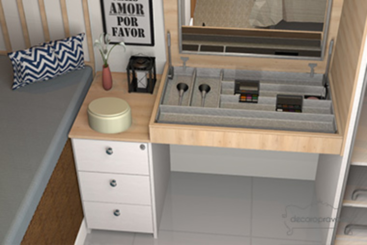 Decoropravocê - Decoração ao seu alcance. Mediterranean style bedroom Wood Grey
