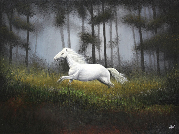 The White Stallion: asian  by Indian Art Ideas,Asian