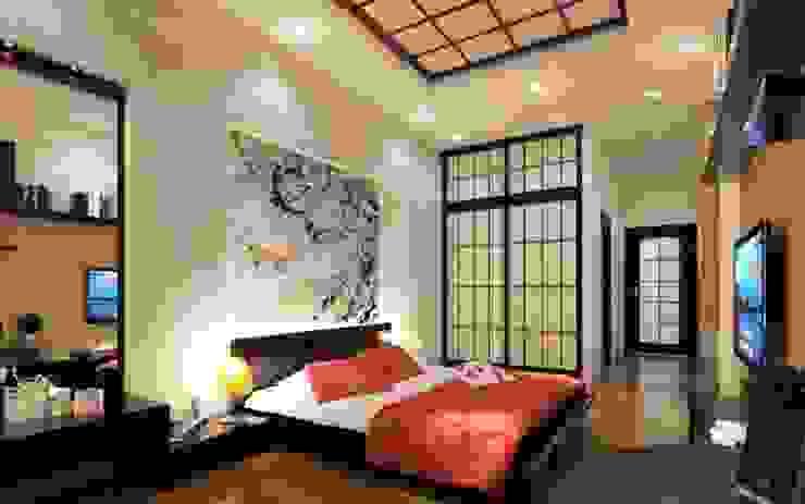 """Đẹp """"Rụng Tim"""" Với Mẫu Thiết Kế Nhà Ống 4 Tầng Kiểu Nhật Hiện Đại Phòng ngủ phong cách hiện đại bởi Công ty TNHH Xây Dựng TM – DV Song Phát Hiện đại"""