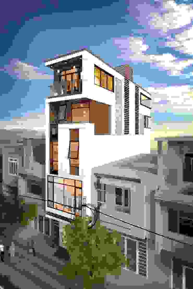 Mẫu nhà ống lệch tầng tầng đẹp – 02 bởi Công ty TNHH TK XD Song Phát Hiện đại Đồng / Đồng / Đồng thau