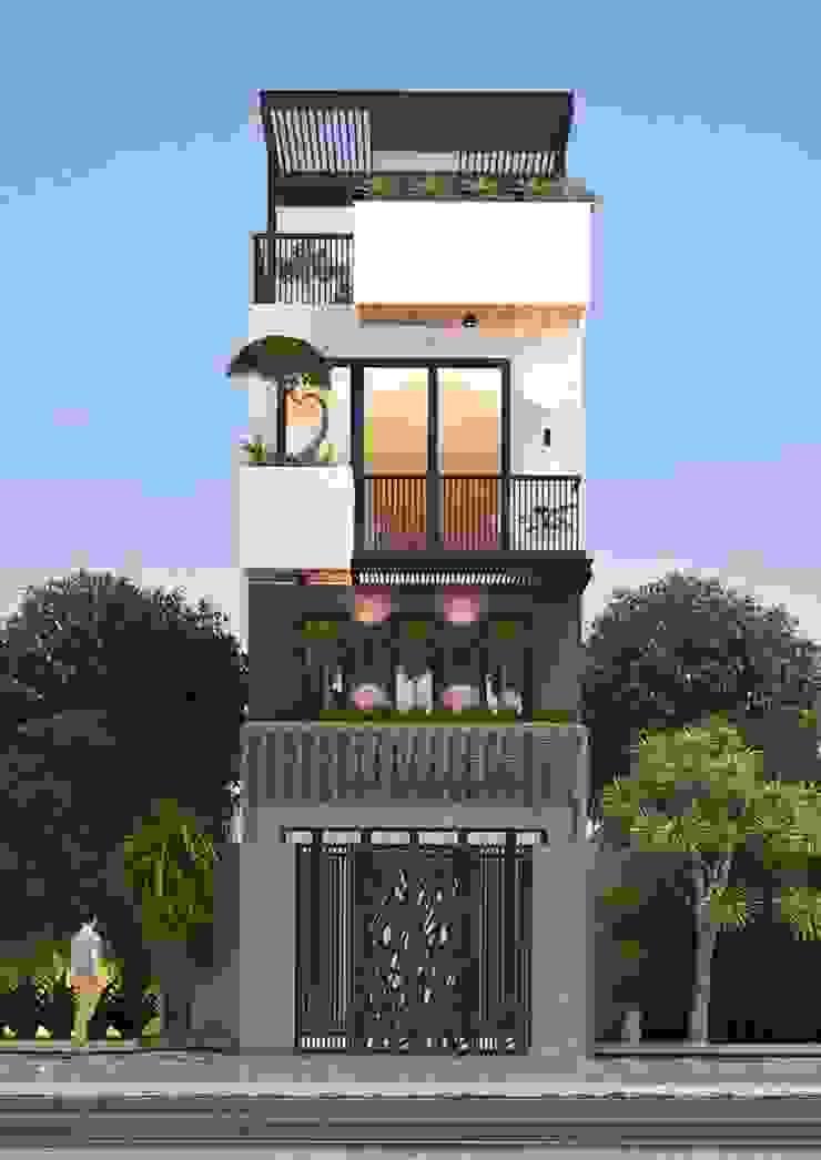 Mẫu nhà ống lệch tầng tầng đẹp – 11 bởi Công ty TNHH TK XD Song Phát Hiện đại Đồng / Đồng / Đồng thau