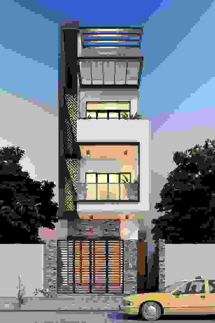 Mẫu nhà ống lệch tầng tầng đẹp – 12 bởi Công ty TNHH TK XD Song Phát Hiện đại Đồng / Đồng / Đồng thau