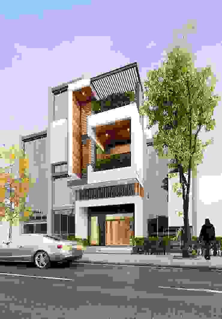 Mẫu nhà ống lệch tầng tầng đẹp – 13 bởi Công ty TNHH TK XD Song Phát Hiện đại Đồng / Đồng / Đồng thau