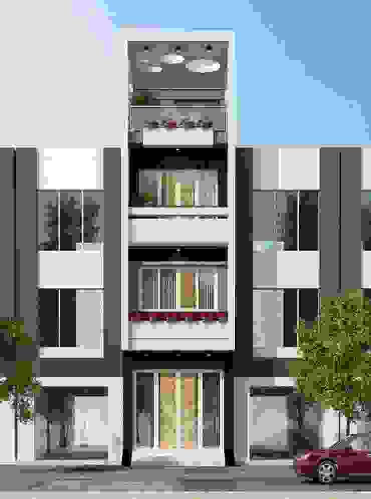 Mẫu nhà ống lệch tầng tầng đẹp – 14 bởi Công ty TNHH TK XD Song Phát Hiện đại Đồng / Đồng / Đồng thau
