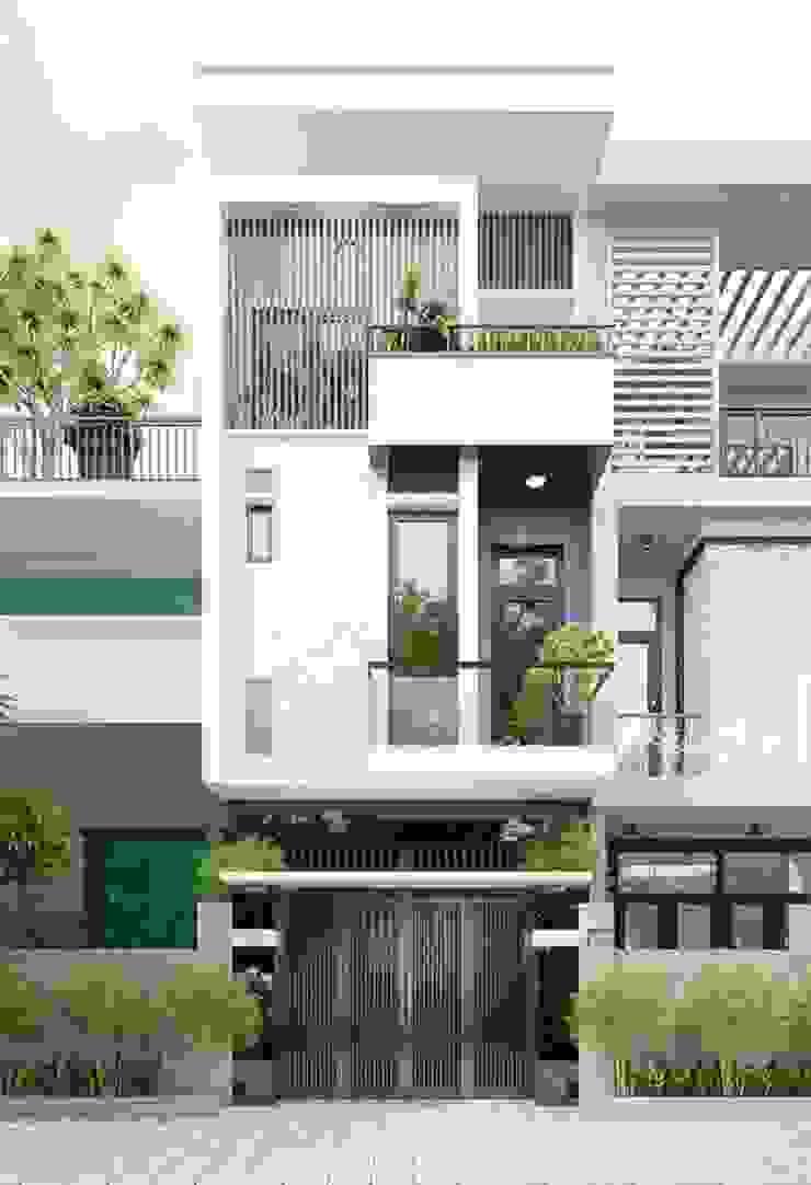 Mẫu nhà ống lệch tầng tầng đẹp – 17 bởi Công ty TNHH TK XD Song Phát Hiện đại Đồng / Đồng / Đồng thau