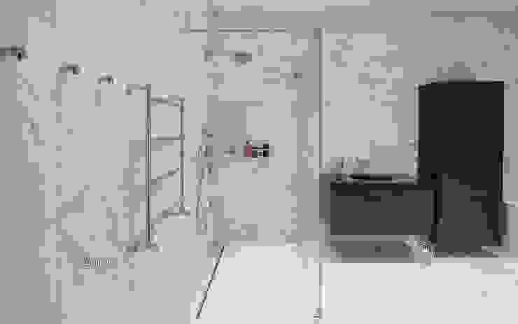 Светлая ванная комната, расположенная на втором этаже: Ванные комнаты в . Автор – LUMI POLAR