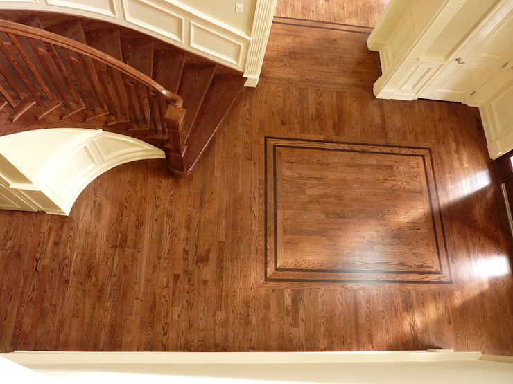 Red Oak Floors with Jacobean and Ebony stain Classic style corridor, hallway and stairs by Shine Star Flooring Classic