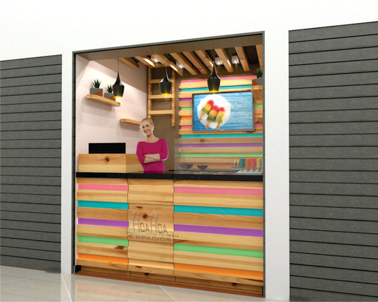 Heladeria Bodegas de estilo moderno de HoaHoa Espacios SAS Moderno Madera maciza Multicolor