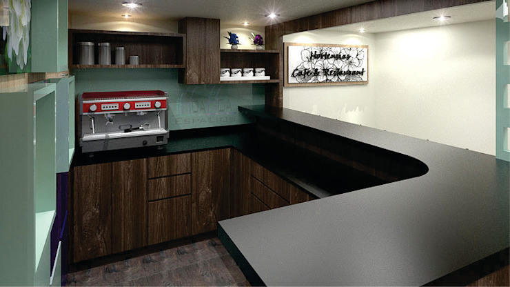 barra de cafeteria Comedores de estilo moderno de HoaHoa Espacios SAS Moderno Derivados de madera Transparente
