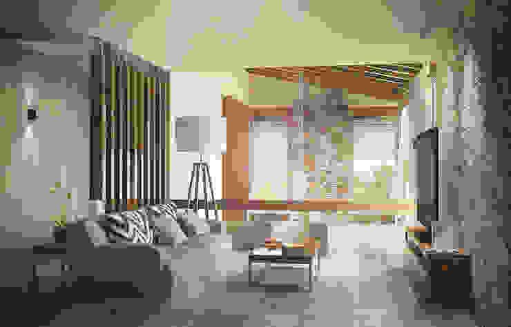 Casa en el Bosque - BCA Taller de Diseño Salones de estilo moderno de BCA Taller de Diseño Moderno