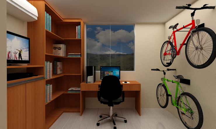 Habitacion Tipo Estudio y Closet habitacion principal Arq. Barbara Bolivar EstudioArmarios y estanterías Madera