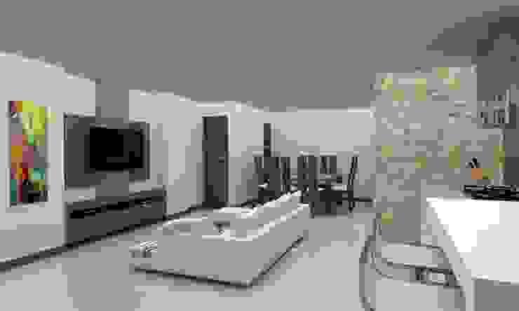 Diseño Cocina y Mueble Tv Salas de estilo moderno de Arq. Barbara Bolivar Moderno Madera Acabado en madera