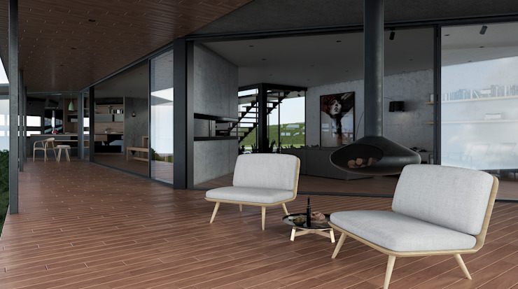 Adrede Diseño Modern balcony, veranda & terrace Wood Brown