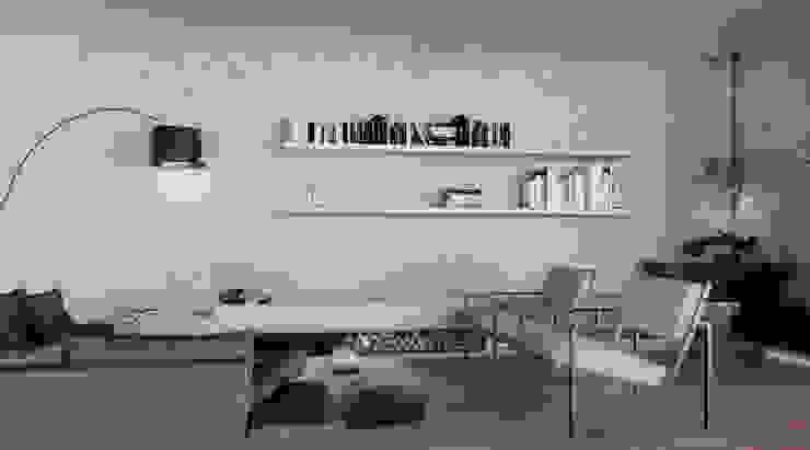 Sala chimenea Adrede Diseño Salas modernas Concreto Gris