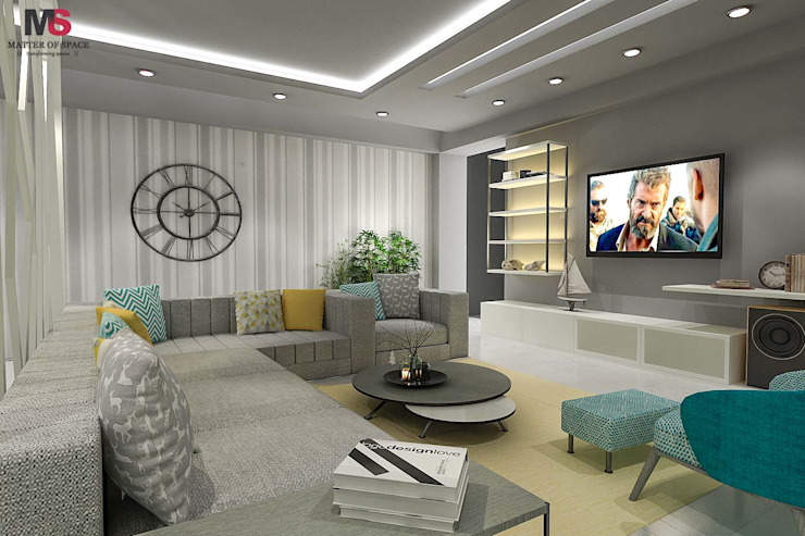 LIVING AND DINING AREA DESIGN (NEW TOWN HEIGHTS) Modern living room by Matter Of Space Pvt. Ltd. Modern