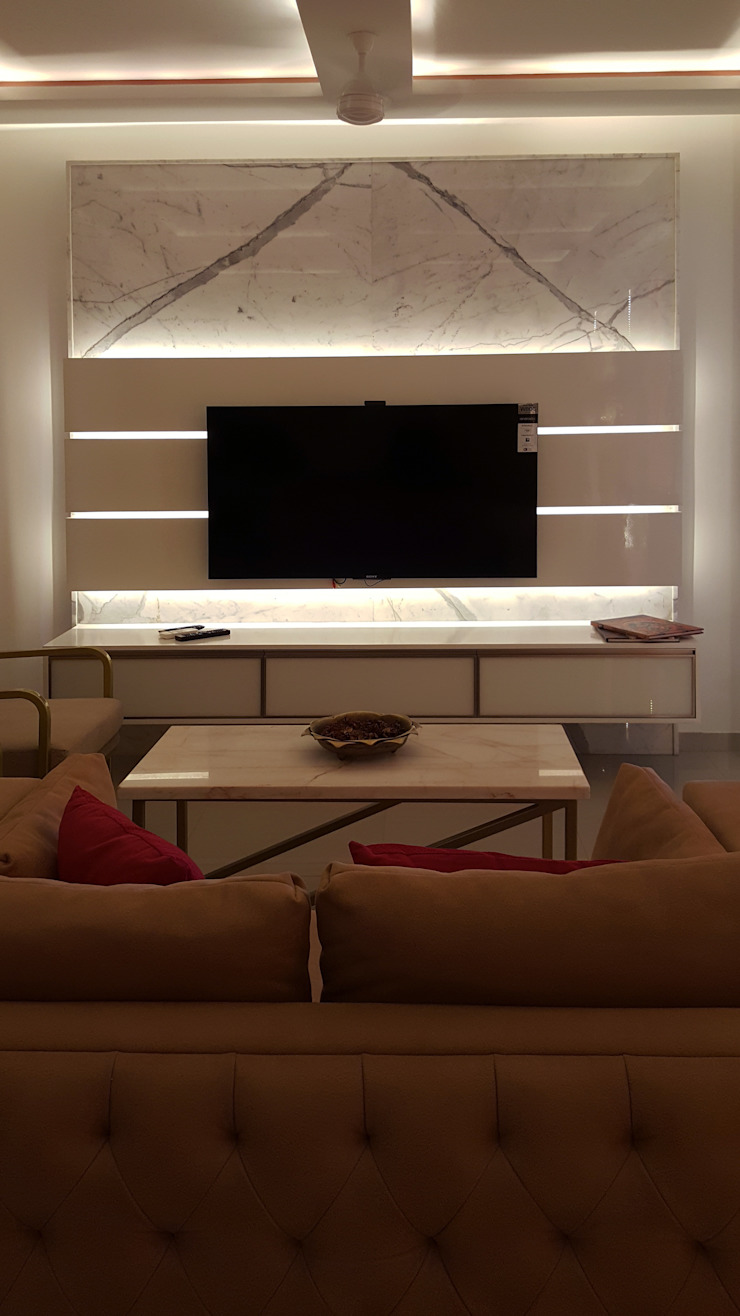 SANDEEP RESIDENCE Modern living room by CARTWHEEL Modern