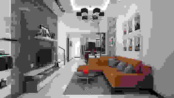 NHÀ PHỐ TẠI HUẾ Phòng khách phong cách châu Á bởi DCOR Châu Á