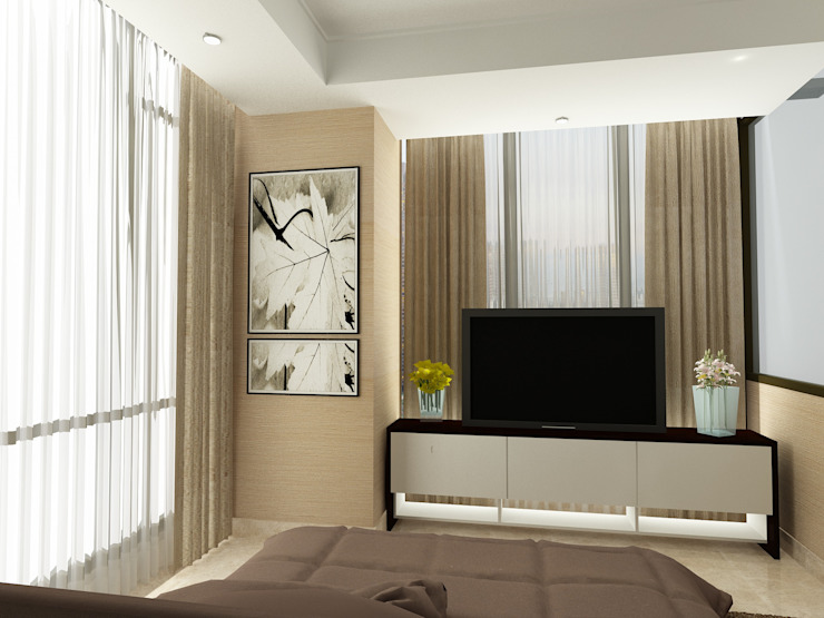 MASTER BEDROOM-ASCCOT APARTMENT, KUNINGAN-JAKARTA Kamar Tidur Minimalis Oleh spacious.interiordnb Minimalis
