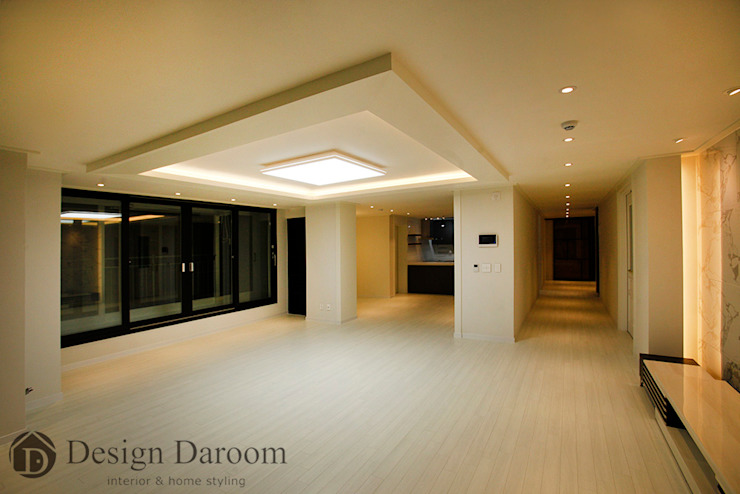 광장동 현대홈타운 12차 55평형 거실 모던스타일 거실 by Design Daroom 디자인다룸 모던
