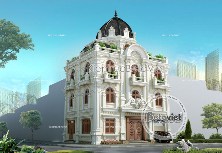 Phối cảnh mẫu biệt thự đẹp 4 tầng Cổ điển đẹp lộng lẫy ( CĐT: Ông Hiệp - Hà Nam) BT14510 bởi Công Ty CP Kiến Trúc và Xây Dựng Betaviet