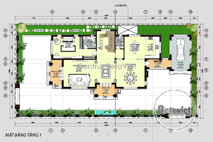 Mặt bằng tầng 1 mẫu thiết kế biệt thự đẹp 2 tầng Hiện đại (CĐT: Ông Tùng - Thanh Hóa) KT16090 bởi Công Ty CP Kiến Trúc và Xây Dựng Betaviet