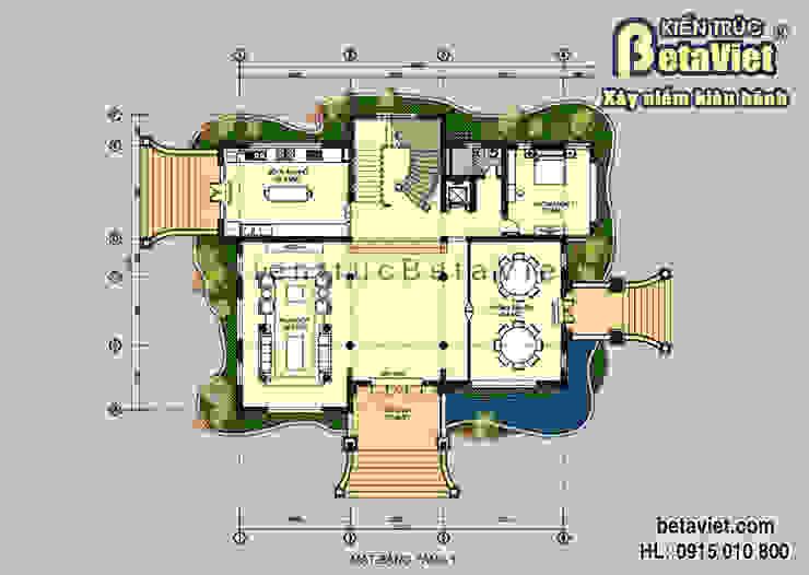 Mặt bằng tầng 1 mẫu thiết kế lâu đài dinh thự đẹp 3 tầng (CĐT: Ông Khâm - Lào Cai) BT14390 bởi Công Ty CP Kiến Trúc và Xây Dựng Betaviet