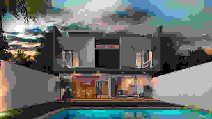 Fachada Posterior: Casas de estilo  por Eutopia Arquitectura