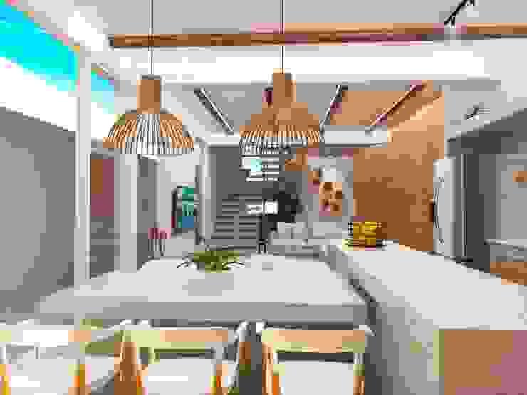 Cozinha e sala de jantar homify Armários e bancadas de cozinha Concreto Cinza