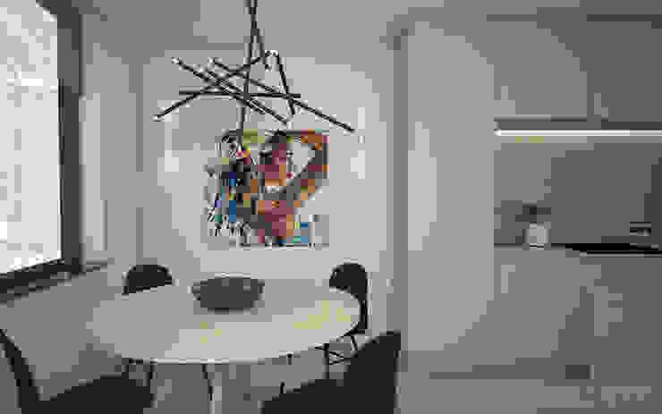 Interieurontwerp 3D impressie eetkamer en keuken Minimalistische eetkamers van Studio-em Minimalistisch