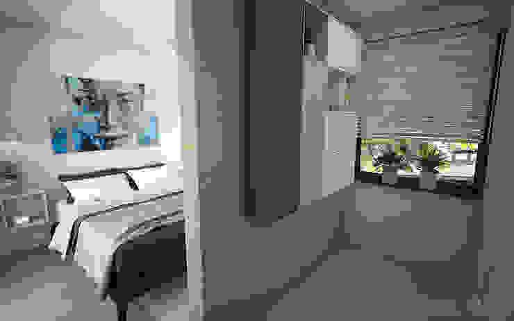 Interieurontwerp 3D impressie Slaapkamer met inloopkast Minimalistische slaapkamers van Studio-em Minimalistisch