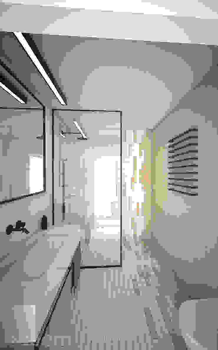 Interieurontwerp 3D impressie badkamer strak en minimalistisch Minimalistische badkamers van Studio-em Minimalistisch