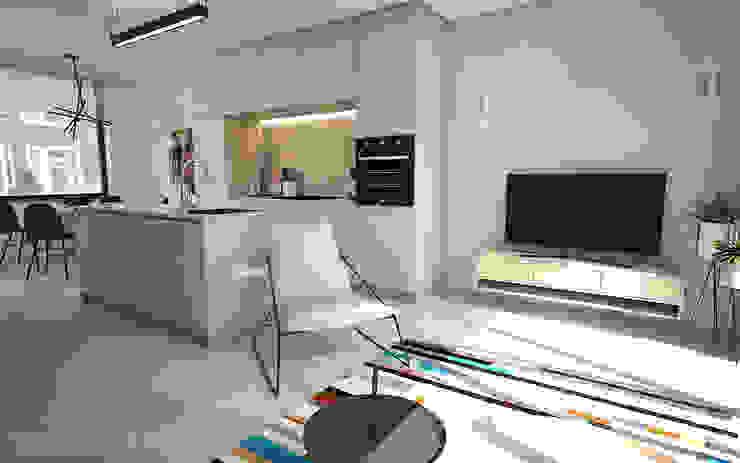 Interieurontwerp 3D impressie woonkamer en eetkeuken, strak en minimalistisch Minimalistische woonkamers van Studio-em Minimalistisch